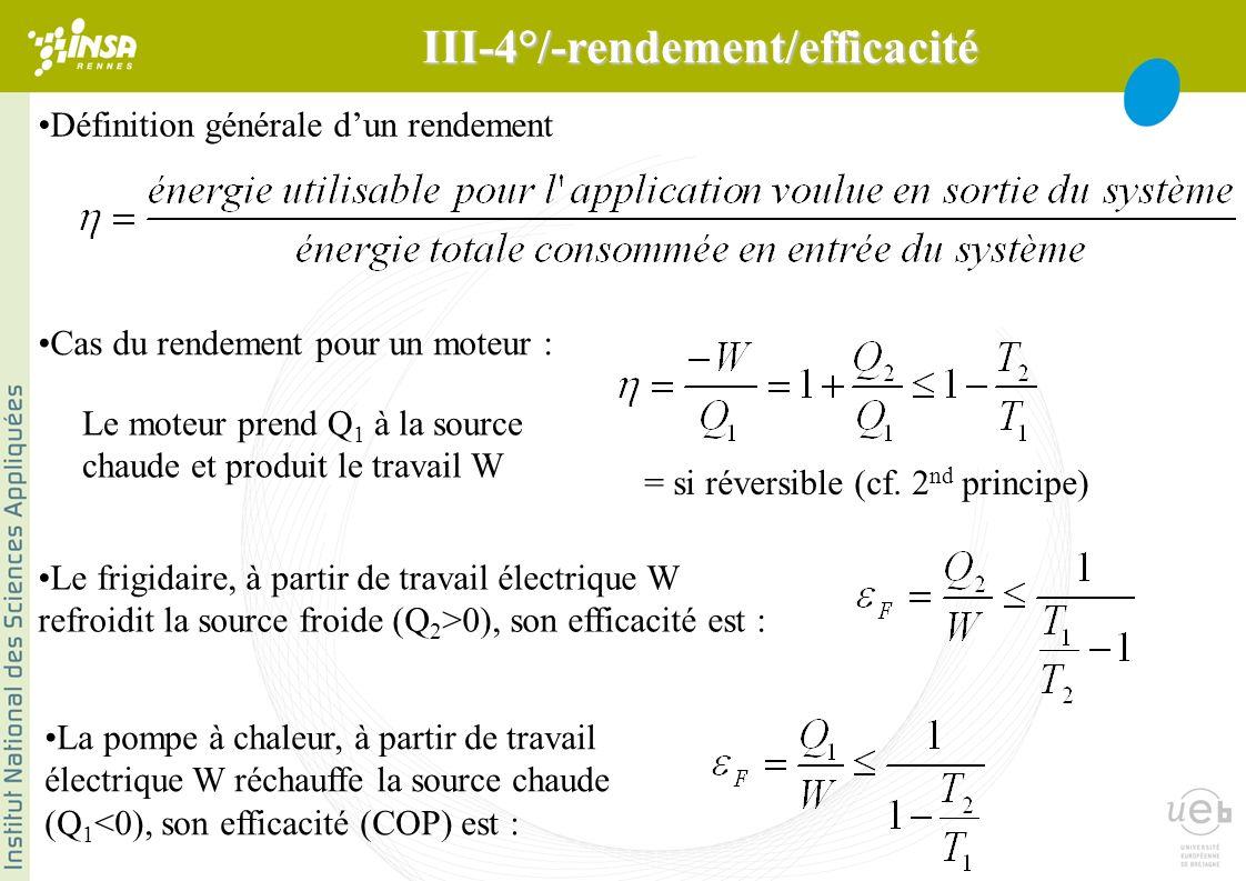 Définition générale dun rendement Le frigidaire, à partir de travail électrique W refroidit la source froide (Q 2 >0), son efficacité est : Cas du rendement pour un moteur : = si réversible (cf.