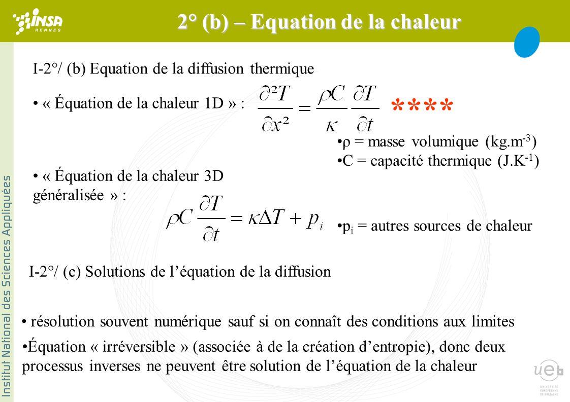 I-2°/ (b) Equation de la diffusion thermique « Équation de la chaleur 1D » : ρ = masse volumique (kg.m -3 ) C = capacité thermique (J.K -1 ) « Équation de la chaleur 3D généralisée » : p i = autres sources de chaleur **** 2° (b) – Equation de la chaleur I-2°/ (c) Solutions de léquation de la diffusion résolution souvent numérique sauf si on connaît des conditions aux limites Équation « irréversible » (associée à de la création dentropie), donc deux processus inverses ne peuvent être solution de léquation de la chaleur