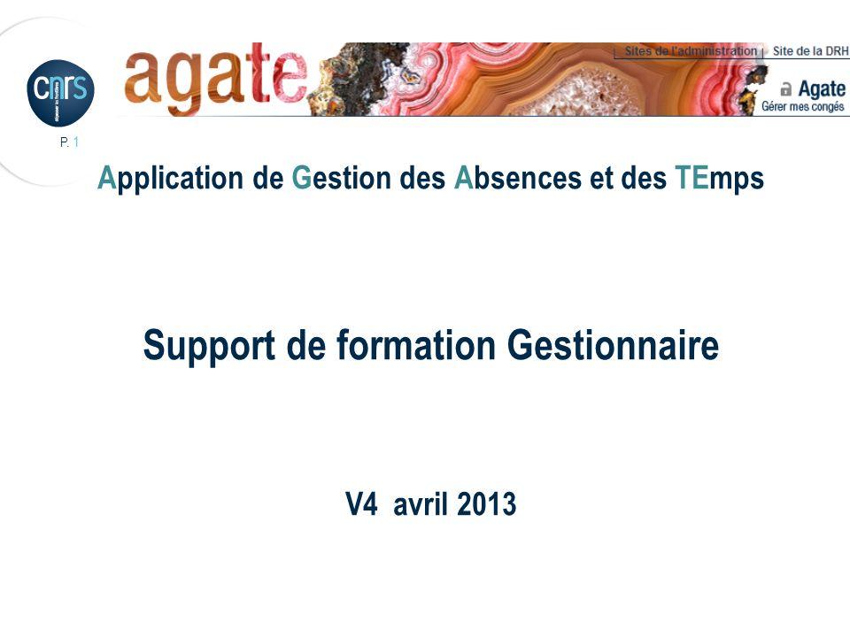 P. 1 Application de Gestion des Absences et des TEmps Support de formation Gestionnaire V4 avril 2013