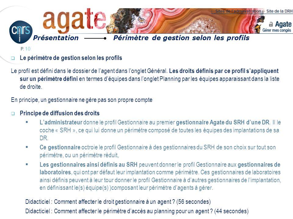P. 10 Le périmètre de gestion selon les profils Le profil est défini dans le dossier de lagent dans longlet Général. Les droits définis par ce profil