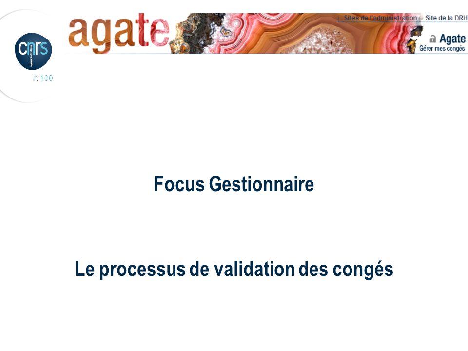 P. 100 Focus Gestionnaire Le processus de validation des congés