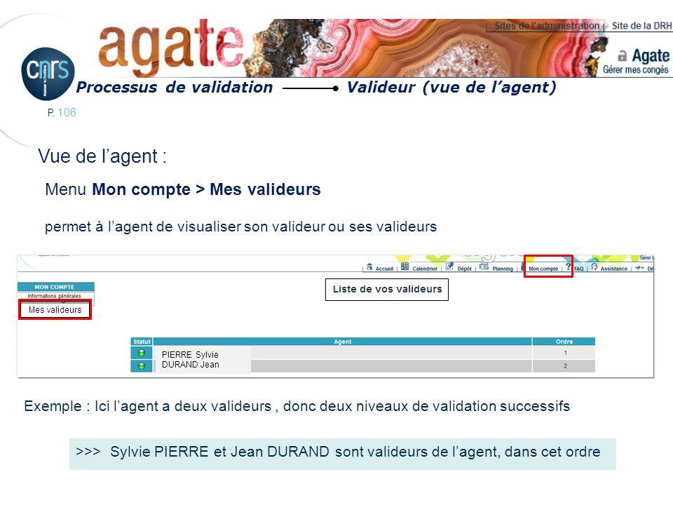 P. 106 Menu Mon compte > Mes valideurs permet à lagent de visualiser son valideur ou ses valideurs Exemple : Ici lagent a deux valideurs, donc deux ni