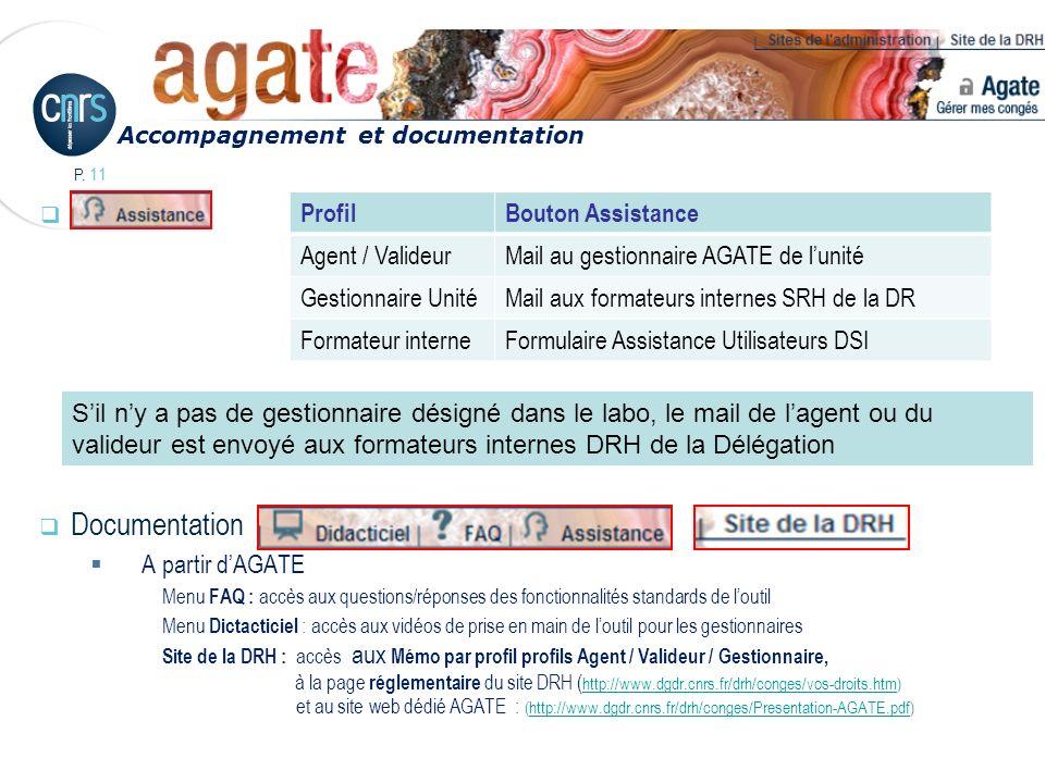 P. 11 Documentation A partir dAGATE Menu FAQ : accès aux questions/réponses des fonctionnalités standards de loutil Menu Dictacticiel : accès aux vidé