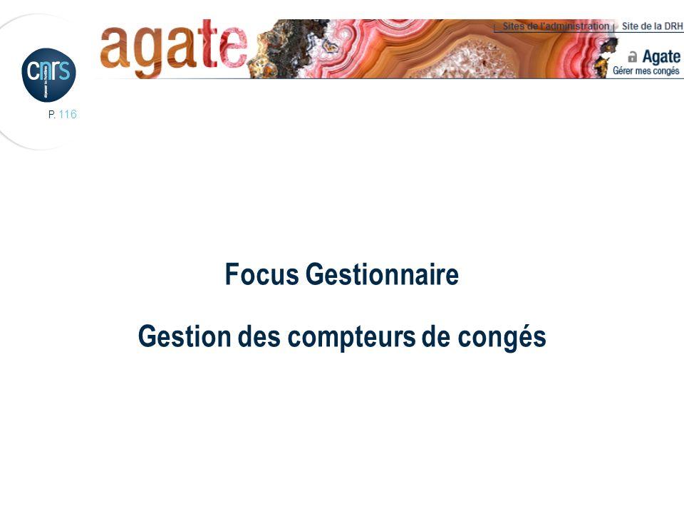 P. 116 Focus Gestionnaire Gestion des compteurs de congés