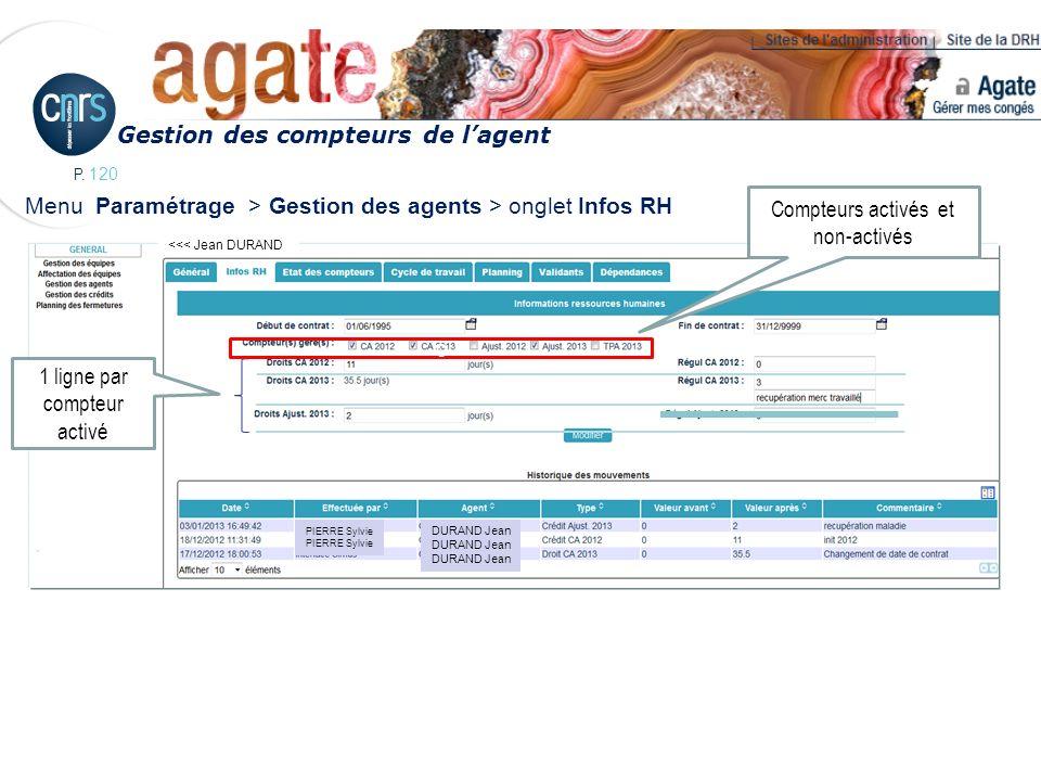 P. 120 Menu Paramétrage > Gestion des agents > onglet Infos RH Gestion des compteurs de lagent 1 ligne par compteur activé <<< Jean DURAND c Compteurs