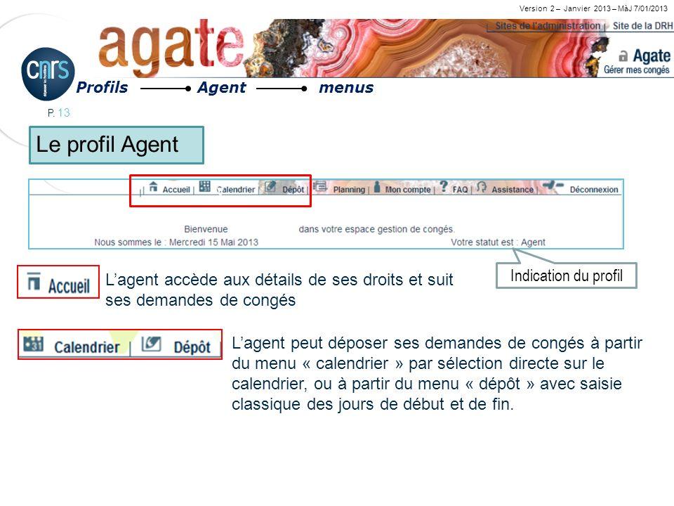 P. 13 Version 2 – Janvier 2013 – MàJ 7/01/2013 v Lagent accède aux détails de ses droits et suit ses demandes de congés Lagent peut déposer ses demand