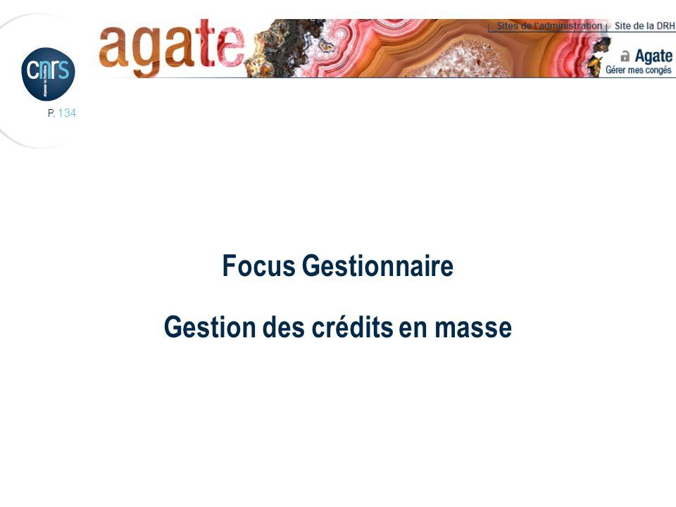 P. 134 Focus Gestionnaire Gestion des crédits en masse