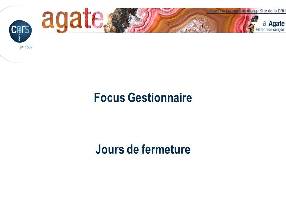 P. 138 Focus Gestionnaire Jours de fermeture