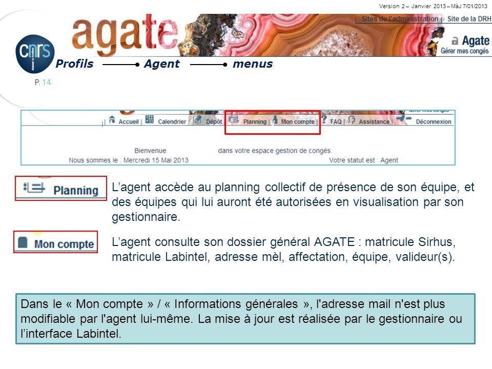 P. 14 Version 2 – Janvier 2013 – MàJ 7/01/2013 Lagent accède au planning collectif de présence de son équipe, et des équipes qui lui auront été autori