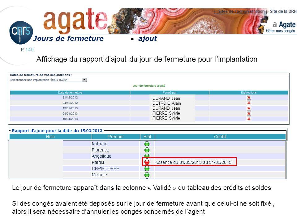 P. 140 Jours de fermeture ajout DURAND Jean DETROIE Alain DURAND JeanPIERRE Sylvie Le jour de fermeture apparaît dans la colonne « Validé » du tableau