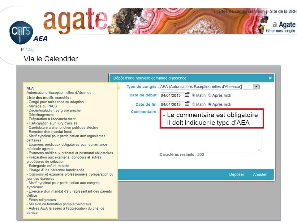 P. 145 AEA - Le commentaire est obligatoire - Il doit indiquer le type dAEA Via le Calendrier