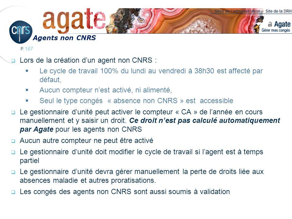 P. 167 Lors de la création dun agent non CNRS : Le cycle de travail 100% du lundi au vendredi à 38h30 est affecté par défaut, Aucun compteur nest acti