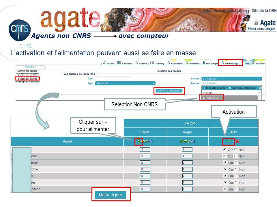 P. 173 Lactivation et lalimentation peuvent aussi se faire en masse Agents non CNRS avec compteur Sélection Non CNRS Activation Cliquer sur + pour ali