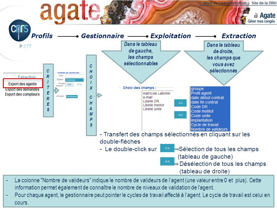 P. 177 Profils Gestionnaire Exploitation Extraction CHOIXCHAMPSCHOIXCHAMPS CRITERESCRITERES Dans le tableau de gauche, les champs sélectionnables Dans