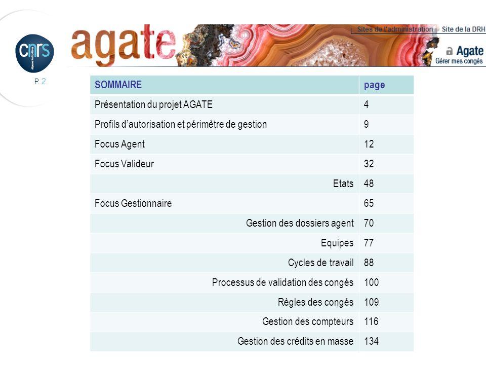 P. 2 SOMMAIREpage Présentation du projet AGATE4 Profils dautorisation et périmètre de gestion9 Focus Agent12 Focus Valideur32 Etats48 Focus Gestionnai