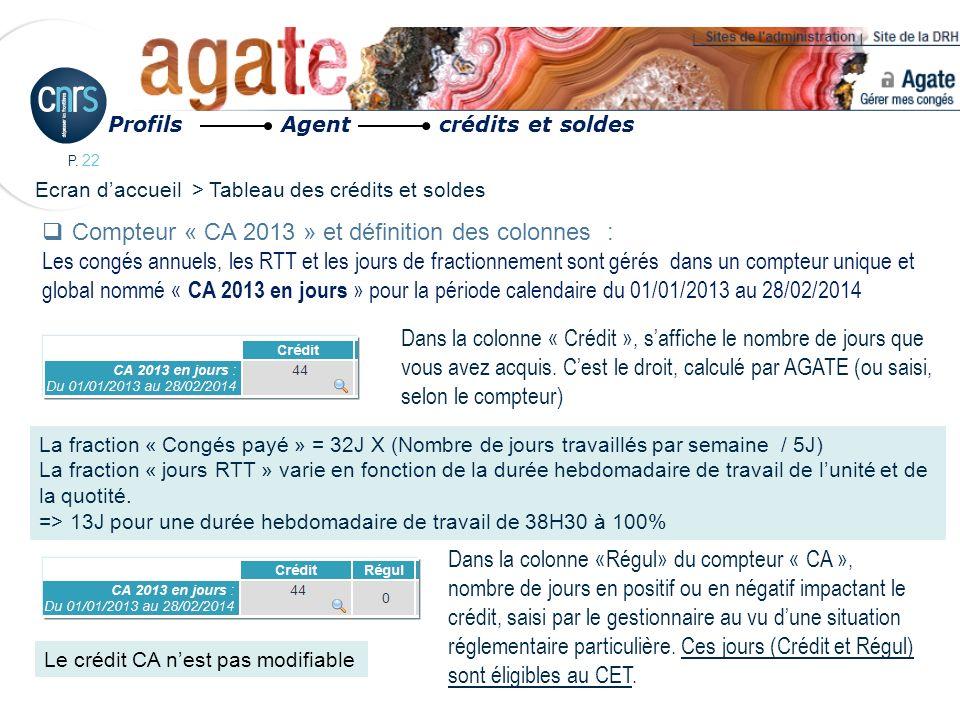 P. 22 Dans la colonne « Crédit », saffiche le nombre de jours que vous avez acquis. Cest le droit, calculé par AGATE (ou saisi, selon le compteur) Com