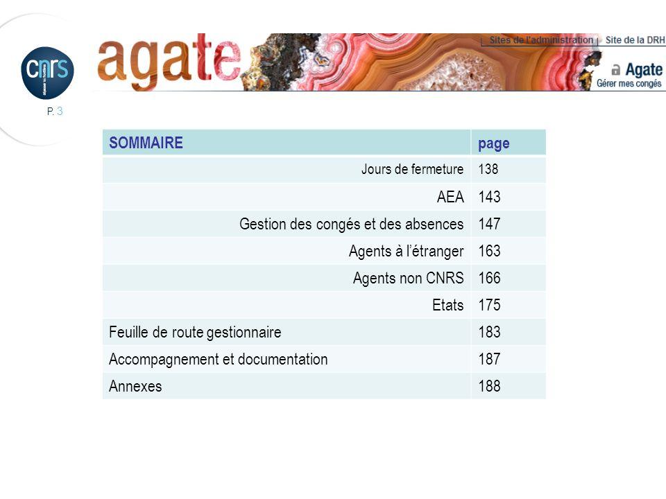 P. 3 SOMMAIREpage Jours de fermeture138 AEA143 Gestion des congés et des absences147 Agents à létranger163 Agents non CNRS166 Etats175 Feuille de rout