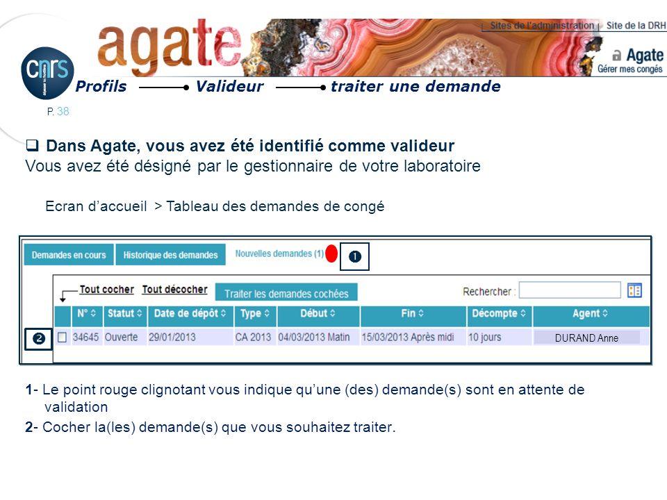 P. 38 Dans Agate, vous avez été identifié comme valideur Vous avez été désigné par le gestionnaire de votre laboratoire 1- Le point rouge clignotant v