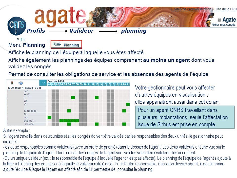 P. 45 Menu Planning Affiche le planning de léquipe à laquelle vous êtes affecté. Affiche également les plannings des équipes comprenant au moins un ag