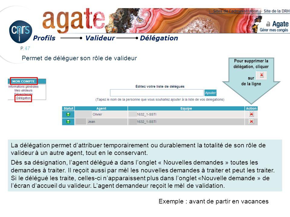 P. 47 Permet de déléguer son rôle de valideur Profils Valideur Délégation La délégation permet dattribuer temporairement ou durablement la totalité de