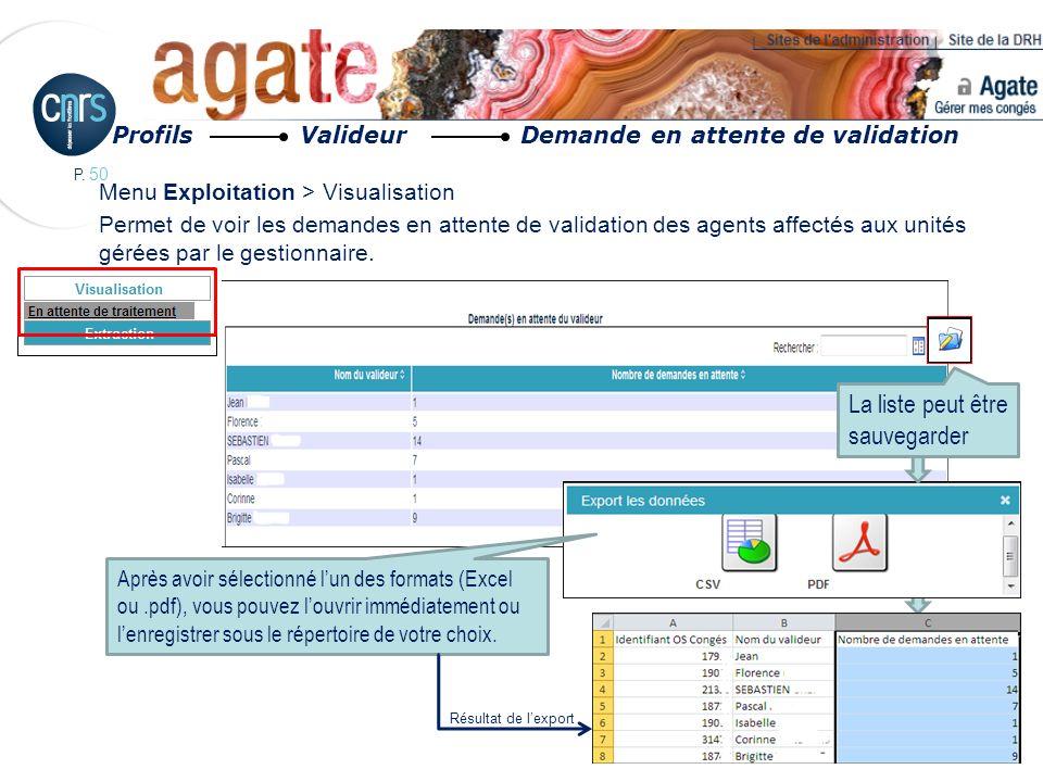 P. 50 Menu Exploitation > Visualisation Permet de voir les demandes en attente de validation des agents affectés aux unités gérées par le gestionnaire