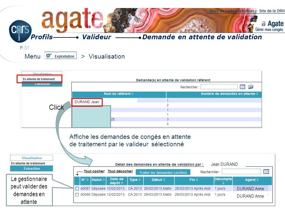 P. 51 Menu > Visualisation Affiche les demandes de congés en attente de traitement par le valideur sélectionné Jean DURAND DURAND Anne DURAND Jean Cli