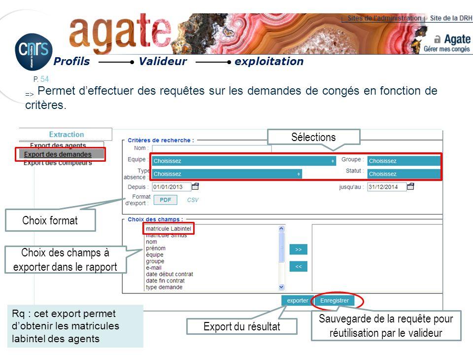 P. 54 Profils Valideur exploitation => Permet deffectuer des requêtes sur les demandes de congés en fonction de critères. Sauvegarde de la requête pou