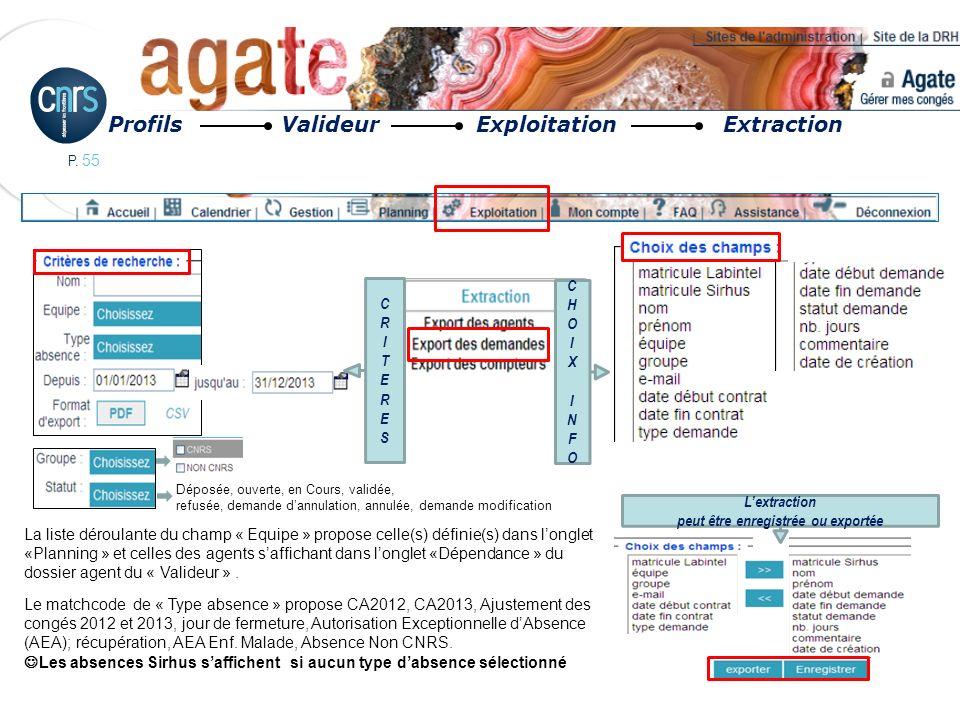 P. 55 Profils Valideur Exploitation Extraction La liste déroulante du champ « Equipe » propose celle(s) définie(s) dans longlet «Planning » et celles