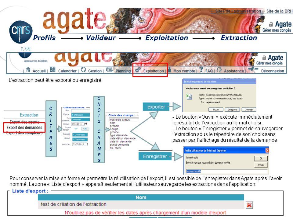 P. 56 Profils Valideur Exploitation Extraction Lextraction peut être exporté ou enregistré CHOIXCHAMPSCHOIXCHAMPS CRITERESCRITERES - Le bouton «Ouvrir