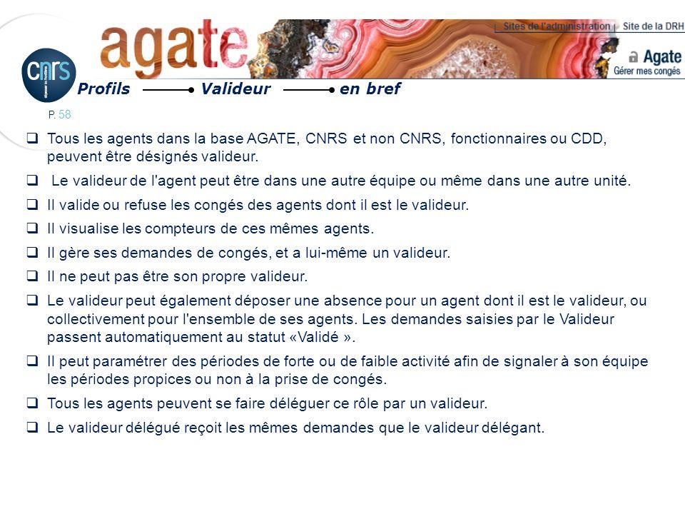 P. 58 Tous les agents dans la base AGATE, CNRS et non CNRS, fonctionnaires ou CDD, peuvent être désignés valideur. Le valideur de l'agent peut être da