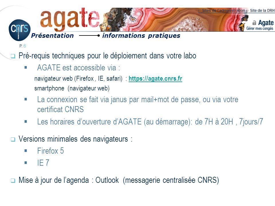 P. 6 Pré-requis techniques pour le déploiement dans votre labo AGATE est accessible via : navigateur web (Firefox, IE, safari) : https://agate.cnrs.fr