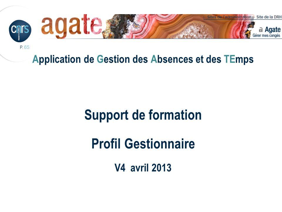 P. 65 Application de Gestion des Absences et des TEmps Support de formation Profil Gestionnaire V4 avril 2013