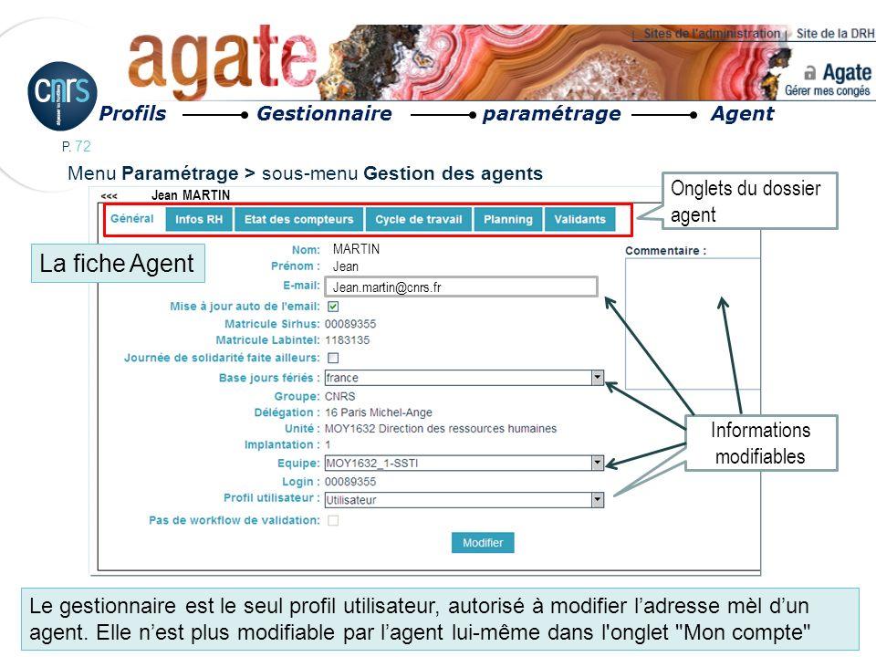 P. 72 Profils Gestionnaire paramétrage Agent Jean MARTIN MARTIN Jean Jean.martin@cnrs.fr Onglets du dossier agent Informations modifiables Menu Paramé