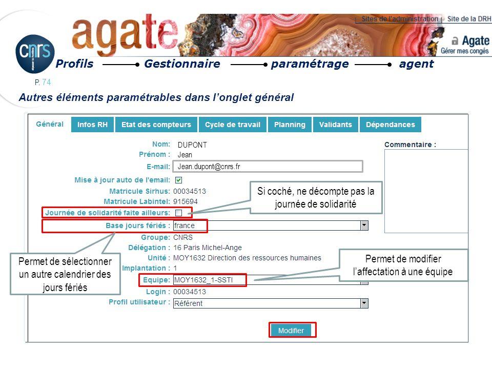 P. 74 Autres éléments paramétrables dans longlet général Profils Gestionnaire paramétrage agent DUPONT Jean Jean.dupont@cnrs.fr Si coché, ne décompte