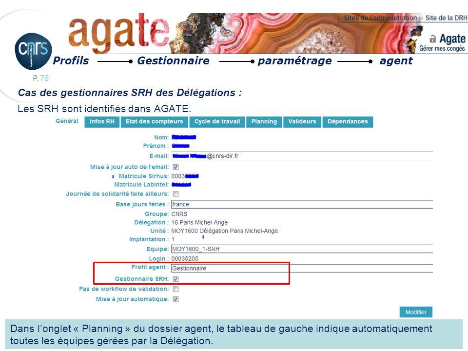 P. 76 Cas des gestionnaires SRH des Délégations : Les SRH sont identifiés dans AGATE. Profils Gestionnaire paramétrage agent Dans longlet « Planning »