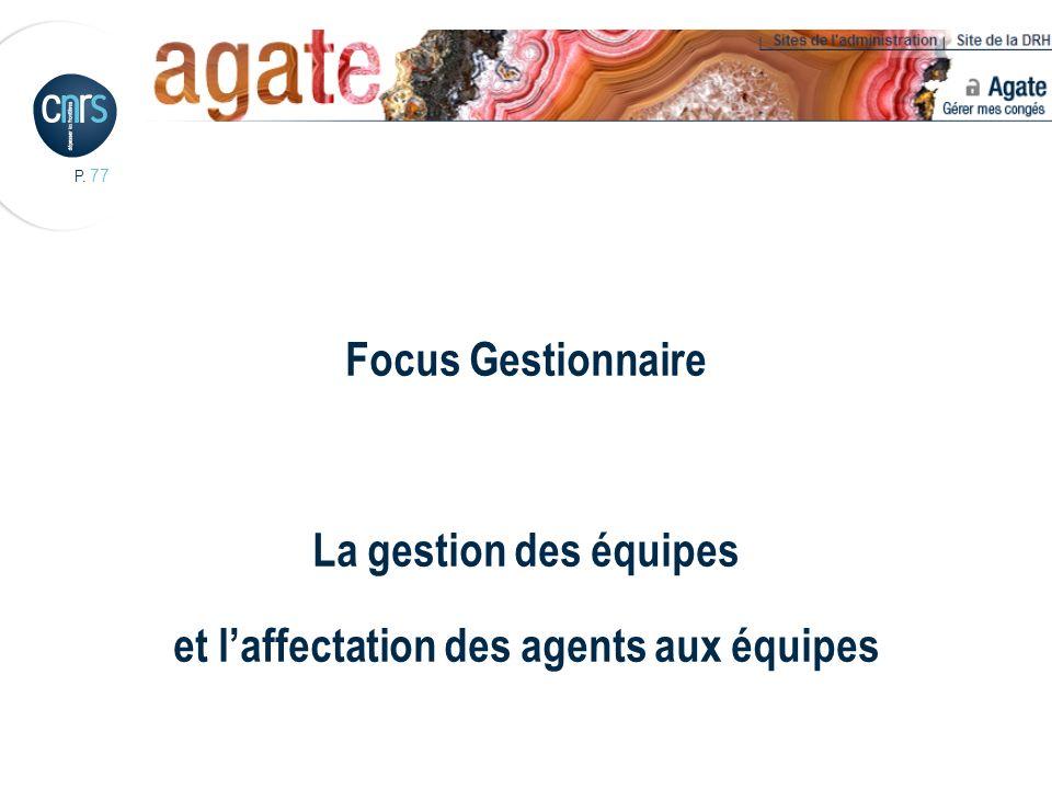 P. 77 Focus Gestionnaire La gestion des équipes et laffectation des agents aux équipes