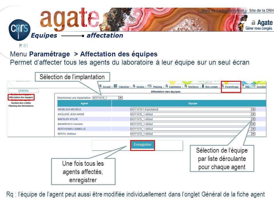 P. 81 Menu Paramétrage > Affectation des équipes Permet daffecter tous les agents du laboratoire à leur équipe sur un seul écran Equipes affectation R