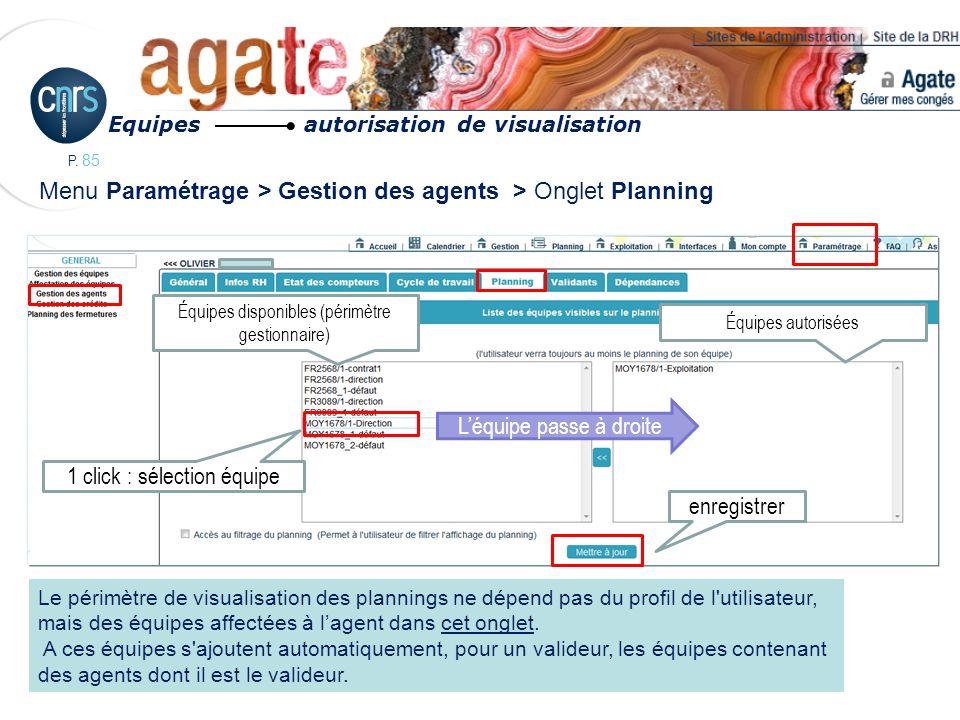 P. 85 Menu Paramétrage > Gestion des agents > Onglet Planning Léquipe passe à droite Le périmètre de visualisation des plannings ne dépend pas du prof