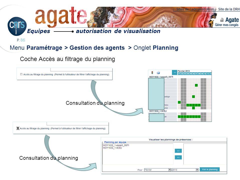P. 86 Menu Paramétrage > Gestion des agents > Onglet Planning Equipes autorisation de visualisation x Consultation du planning Coche Accès au filtrage