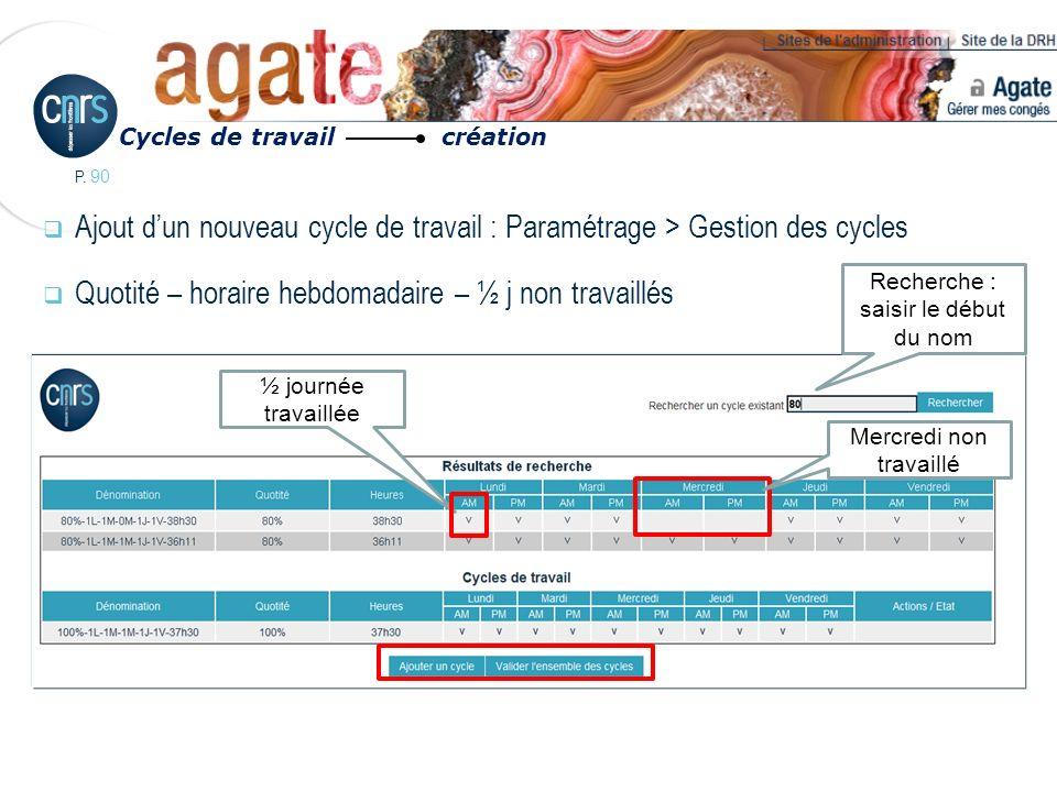 P. 90 Ajout dun nouveau cycle de travail : Paramétrage > Gestion des cycles Quotité – horaire hebdomadaire – ½ j non travaillés Cycles de travail créa