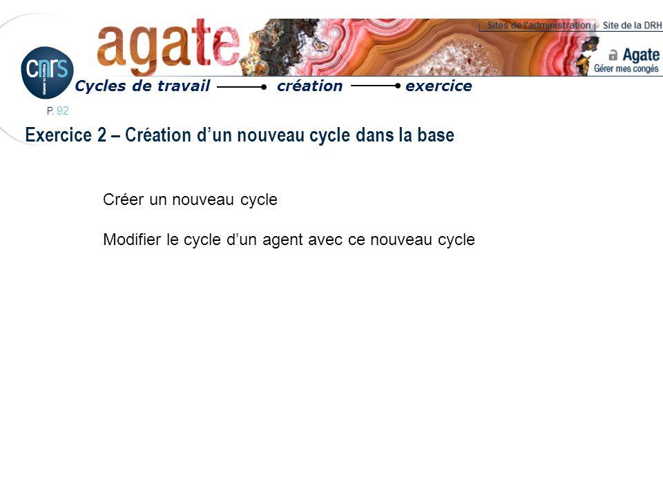 P. 92 Exercice 2 – Création dun nouveau cycle dans la base Cycles de travail création exercice Créer un nouveau cycle Modifier le cycle dun agent avec