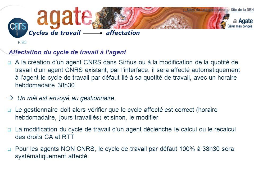 P. 93 A la création dun agent CNRS dans Sirhus ou à la modification de la quotité de travail dun agent CNRS existant, par linterface, il sera affecté
