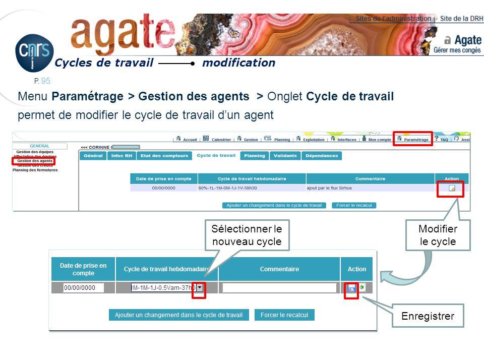 P. 95 Menu Paramétrage > Gestion des agents > Onglet Cycle de travail permet de modifier le cycle de travail dun agent Cycles de travail modification
