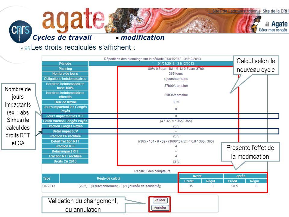 P. 96 Les droits recalculés saffichent : Cycles de travail modification Validation du changement, ou annulation Calcul selon le nouveau cycle Présente