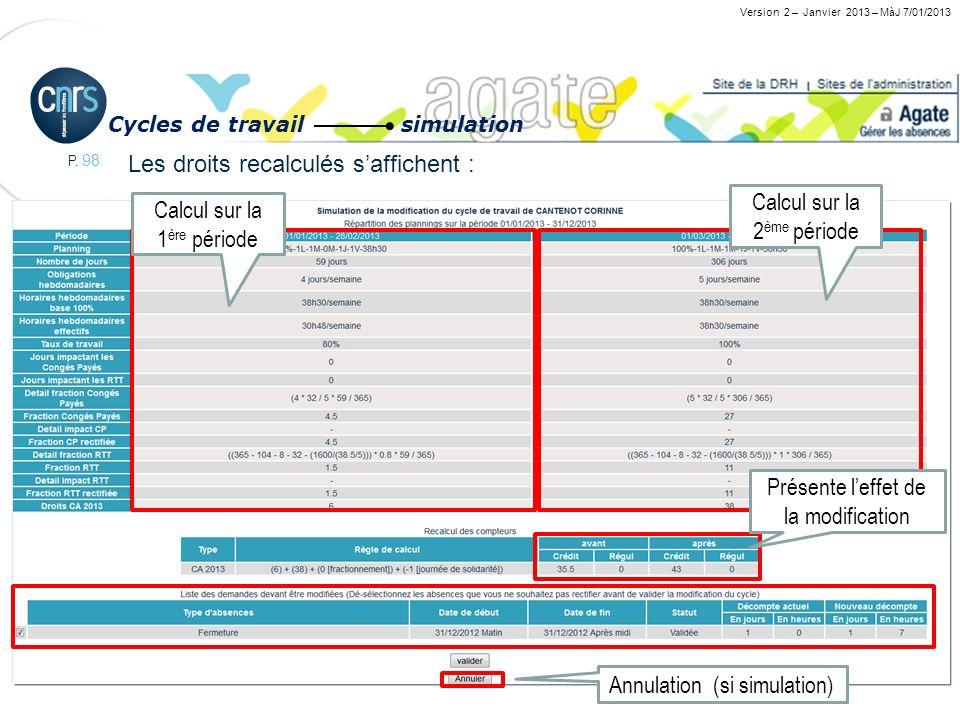 P. 98 Changement de quotité : 80% à 100% le 1 er mars 2013 Les droits recalculés saffichent : Version 2 – Janvier 2013 – MàJ 7/01/2013 Cycles de trava