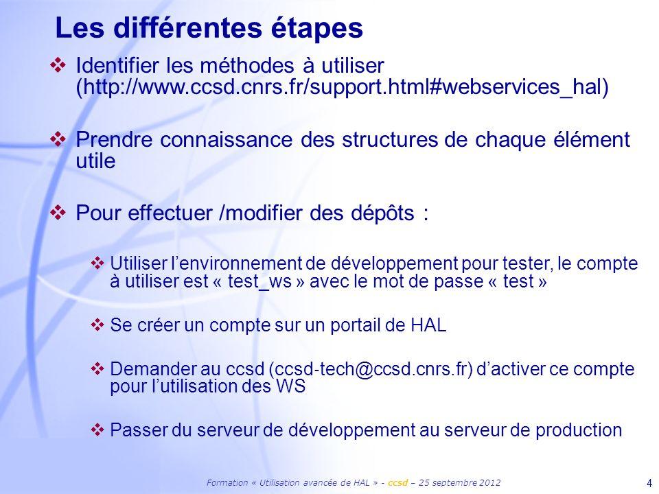Formation « Utilisation avancée de HAL » - ccsd – 25 septembre 2012 4 Les différentes étapes Identifier les méthodes à utiliser (http://www.ccsd.cnrs.fr/support.html#webservices_hal) Prendre connaissance des structures de chaque élément utile Pour effectuer /modifier des dépôts : Utiliser lenvironnement de développement pour tester, le compte à utiliser est « test_ws » avec le mot de passe « test » Se créer un compte sur un portail de HAL Demander au ccsd (ccsd tech@ccsd.cnrs.fr) dactiver ce compte pour lutilisation des WS Passer du serveur de développement au serveur de production
