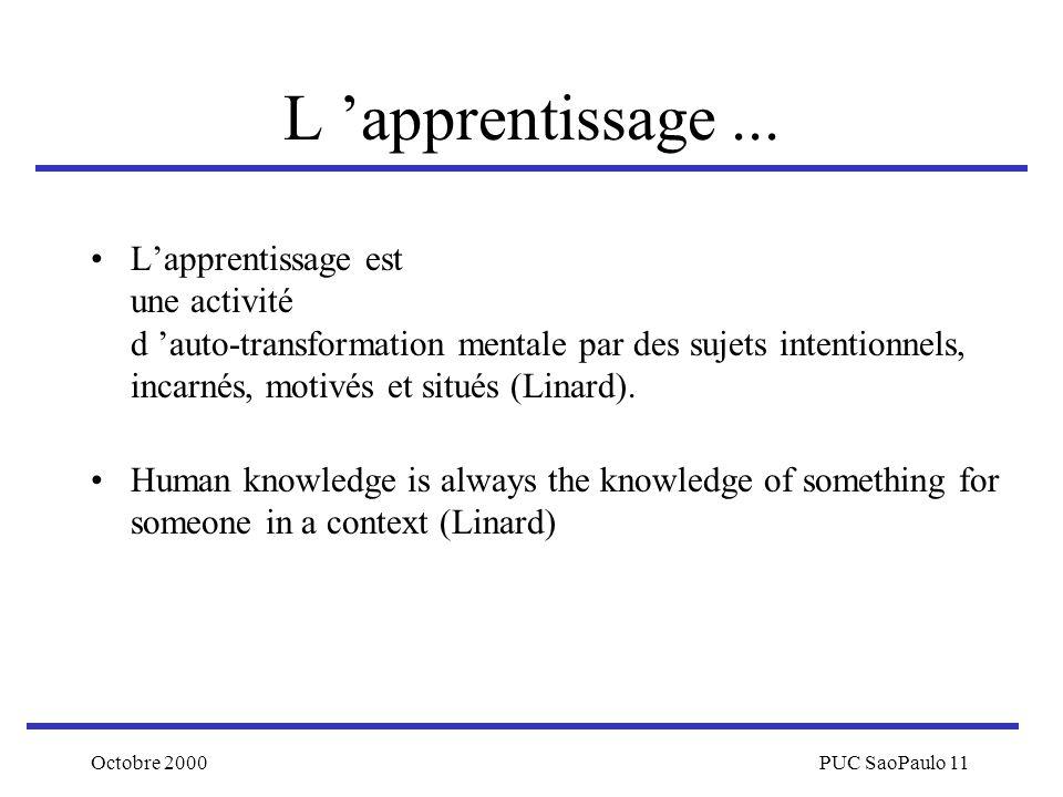 Octobre 2000PUC SaoPaulo 11 L apprentissage... Lapprentissage est une activité d auto-transformation mentale par des sujets intentionnels, incarnés, m