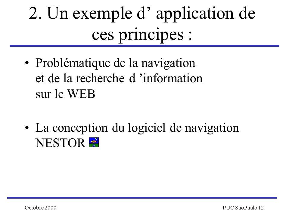Octobre 2000PUC SaoPaulo 12 2. Un exemple d application de ces principes : Problématique de la navigation et de la recherche d information sur le WEB