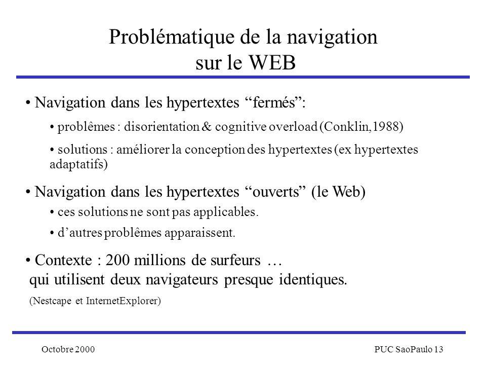 Octobre 2000PUC SaoPaulo 13 Problématique de la navigation sur le WEB Navigation dans les hypertextes fermés: problêmes : disorientation & cognitive o