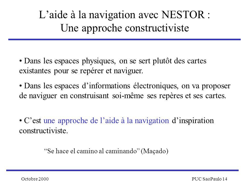 Octobre 2000PUC SaoPaulo 14 Laide à la navigation avec NESTOR : Une approche constructiviste Dans les espaces physiques, on se sert plutôt des cartes
